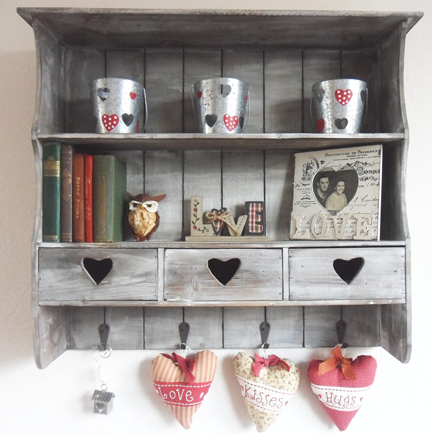 shabby vintage chic reclaimed wood shelving unit with heart