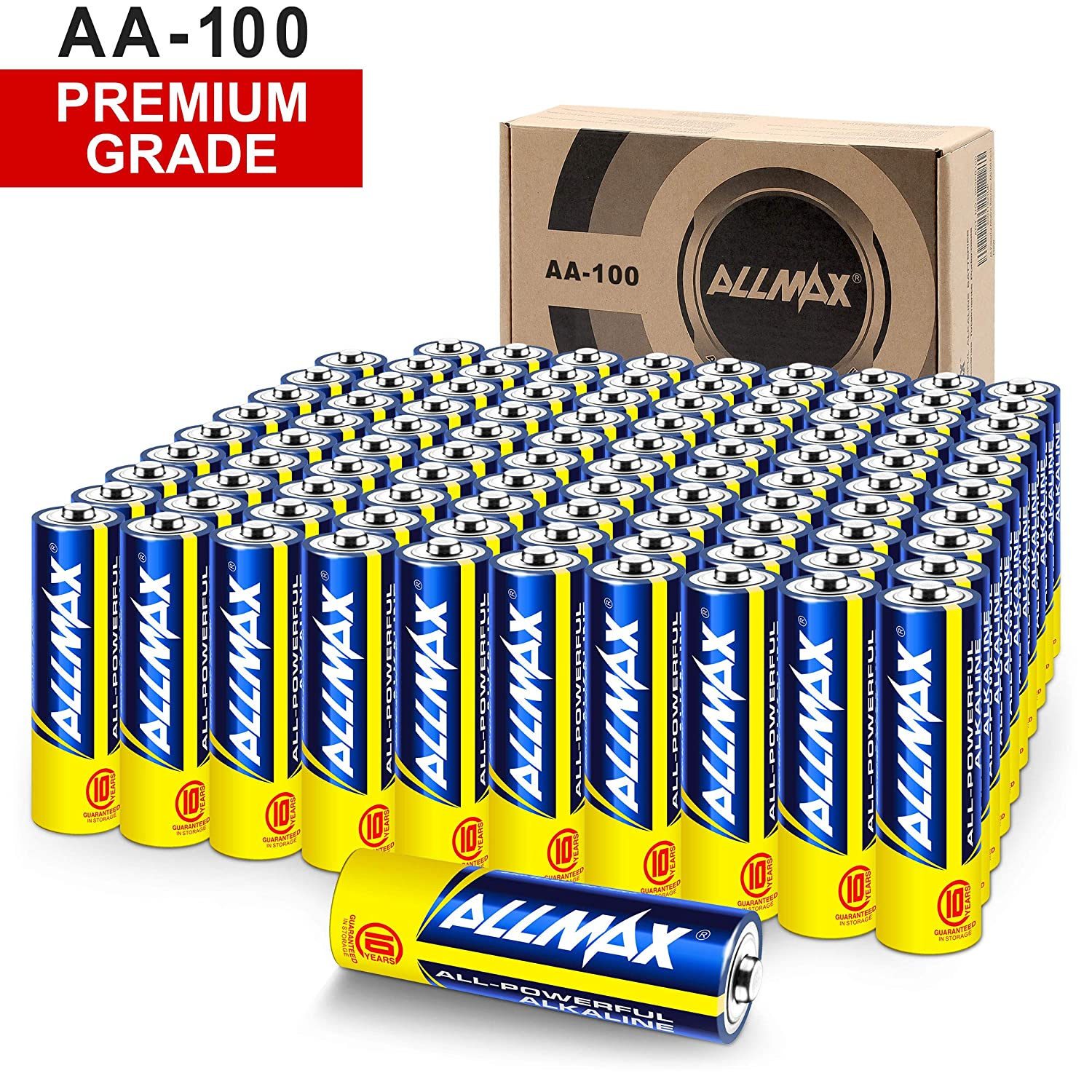 ALLMAX All-Powerful Alkaline Batteries - AA (100-Pack) - Premium Grade, Ultra Long-Lasting and Leak Proof with EnergyCircle Technology (1.5 Volt)