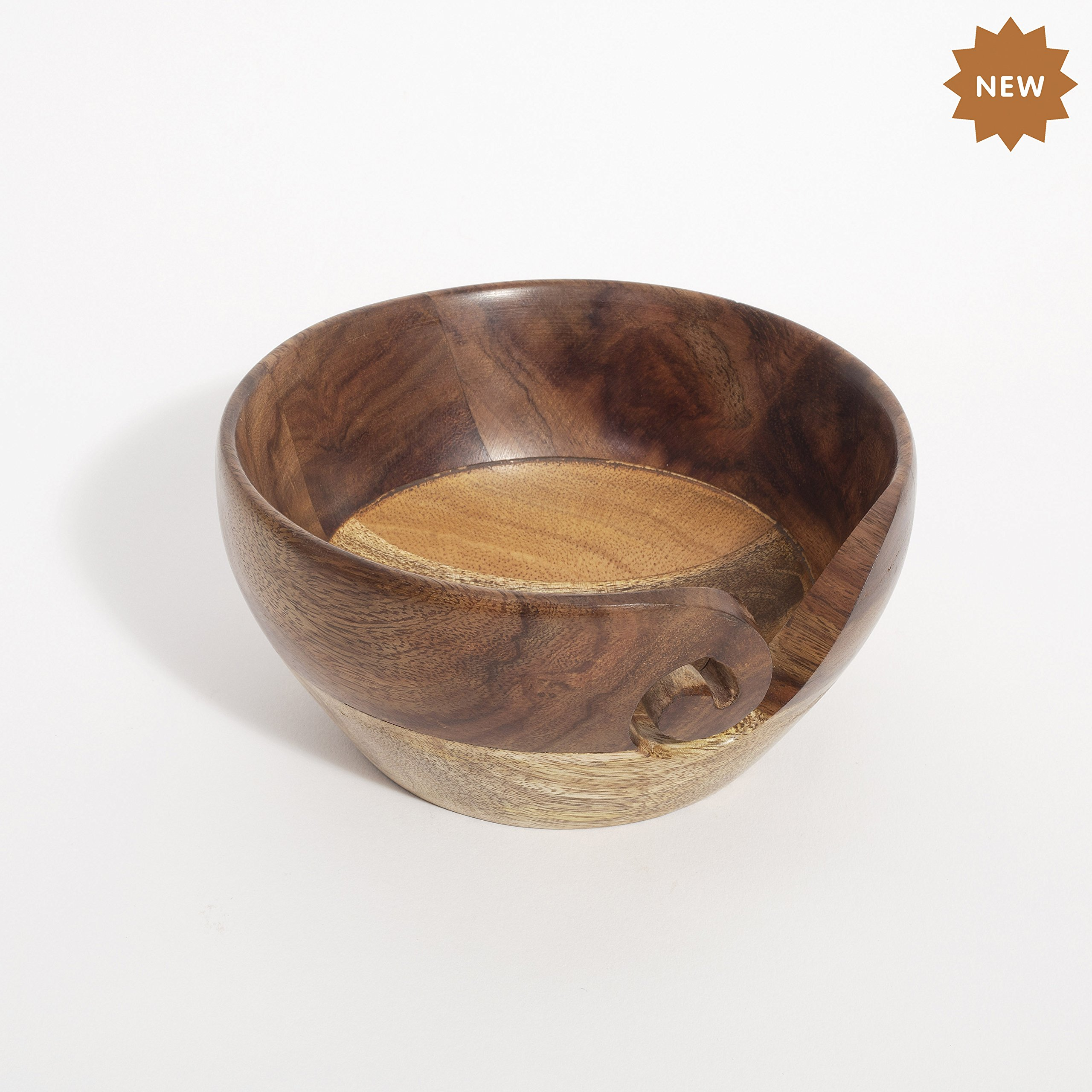 Rusticity Wooden Yarn Bowl/Knitting Bowl/Crochet Holder | Handmade | (5.6x5.6 in)