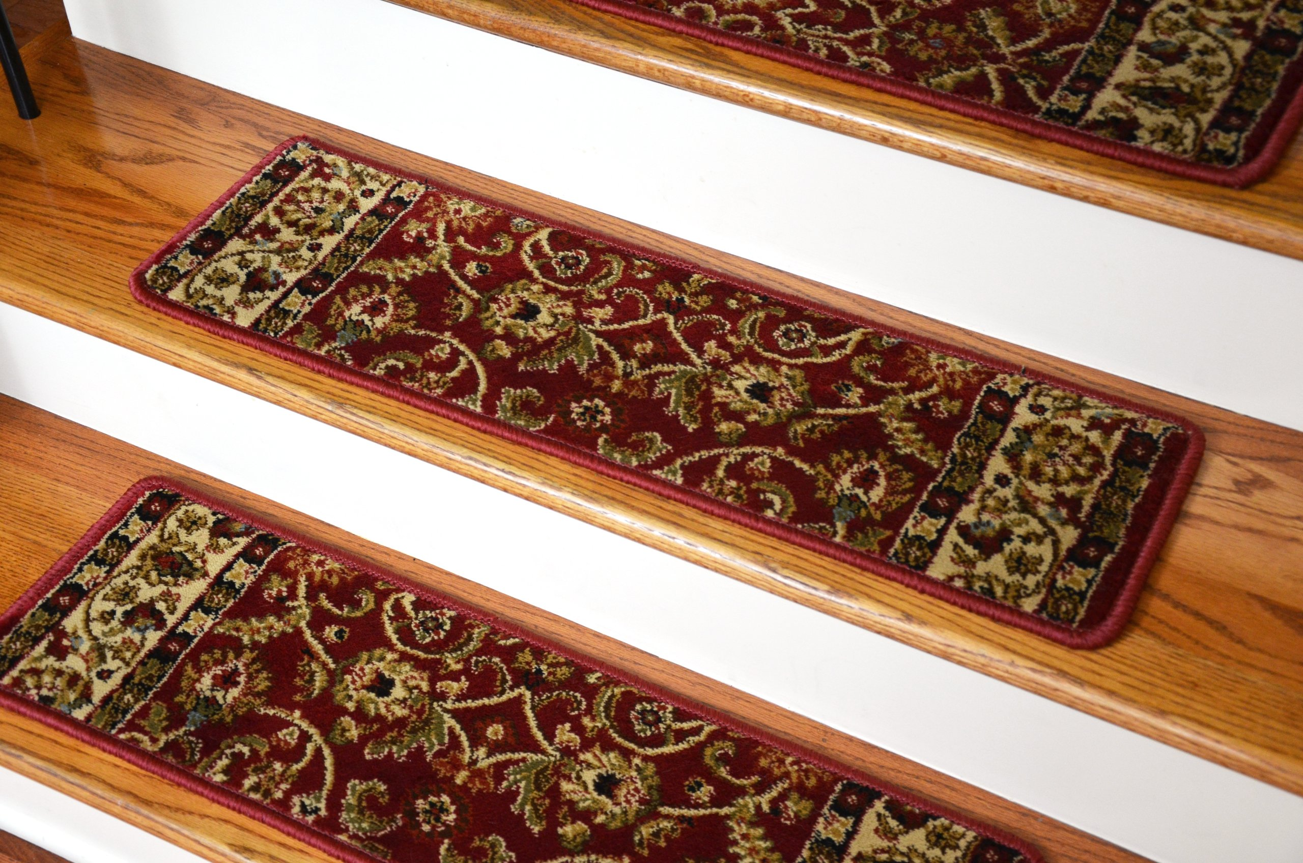 Dean Premium Carpet Stair Treads - Classic Keshan Claret Red Rug Runners 31''W Set of 13 by Dean Flooring Company