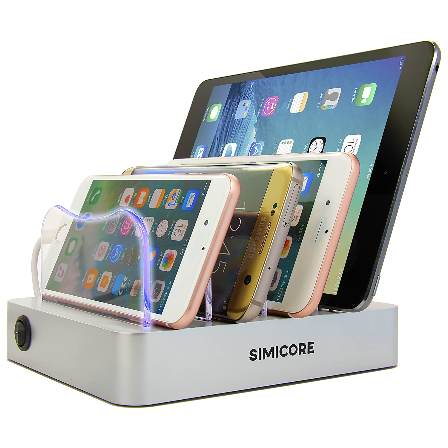 4-Port Compact Multiple USB Charger /& Phone Docking Station with Charging Status Indicator Simicore Smart Charging Station Dock /& Organizer for Smartphones Tablets /& Other Gadgets Silver