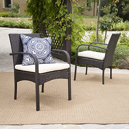 Christopher Knight Home 295660 Carmela Outdoor Multibrown PE Wicker Dining Chairs Set of 2 , Brown
