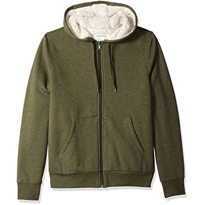 Essentials Men's Sherpa Lined Full-Zip Hooded Fleece Sweatshirt: Clothing