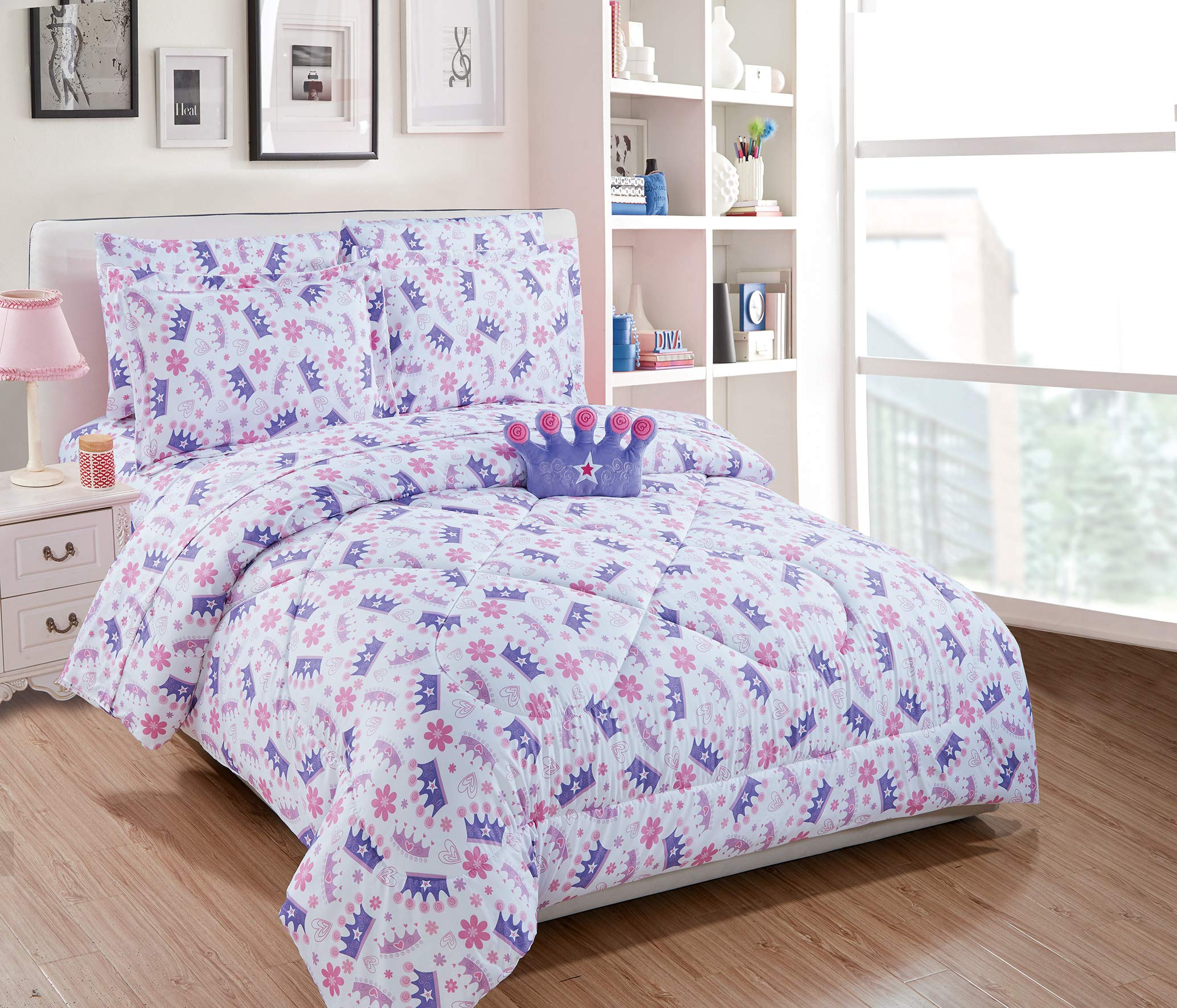 Mk Home 5pc Twin Size Comforter Set for Girls Crown Tiaras Hearts Flowers Lavender Purple Pink White New