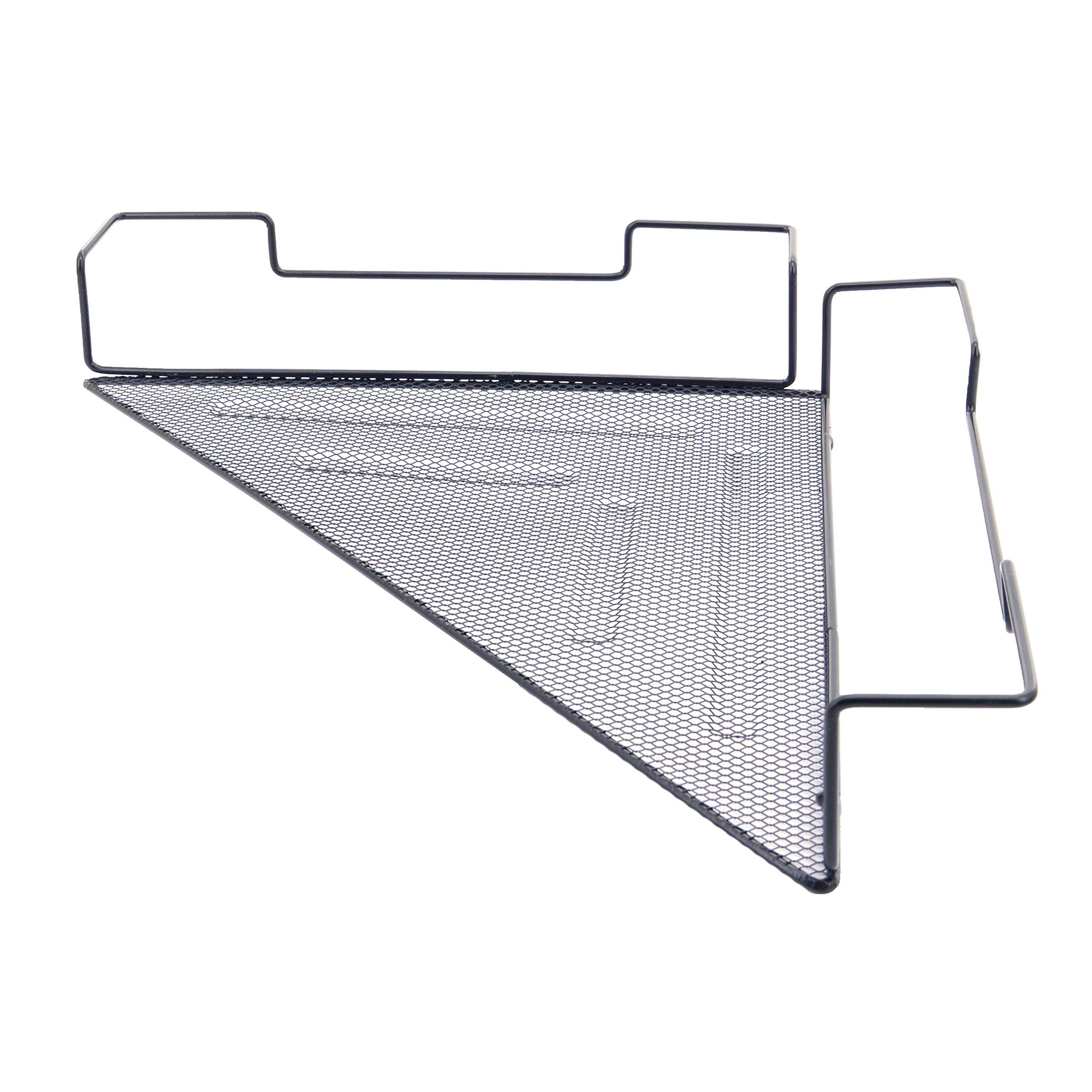 OKOMATCH Office Cubicle Corner Shelf Rack Desk Sundries Organizer / Balcony Corner Plant Caddy (Black,Iron Wire)