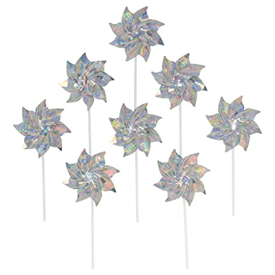 In the Breeze Silver Mylar Pinwheel - Sparkly Silver Spinners - Good Animal & Bird Deterrant - 8 Piece Bags : Garden & Outdoor