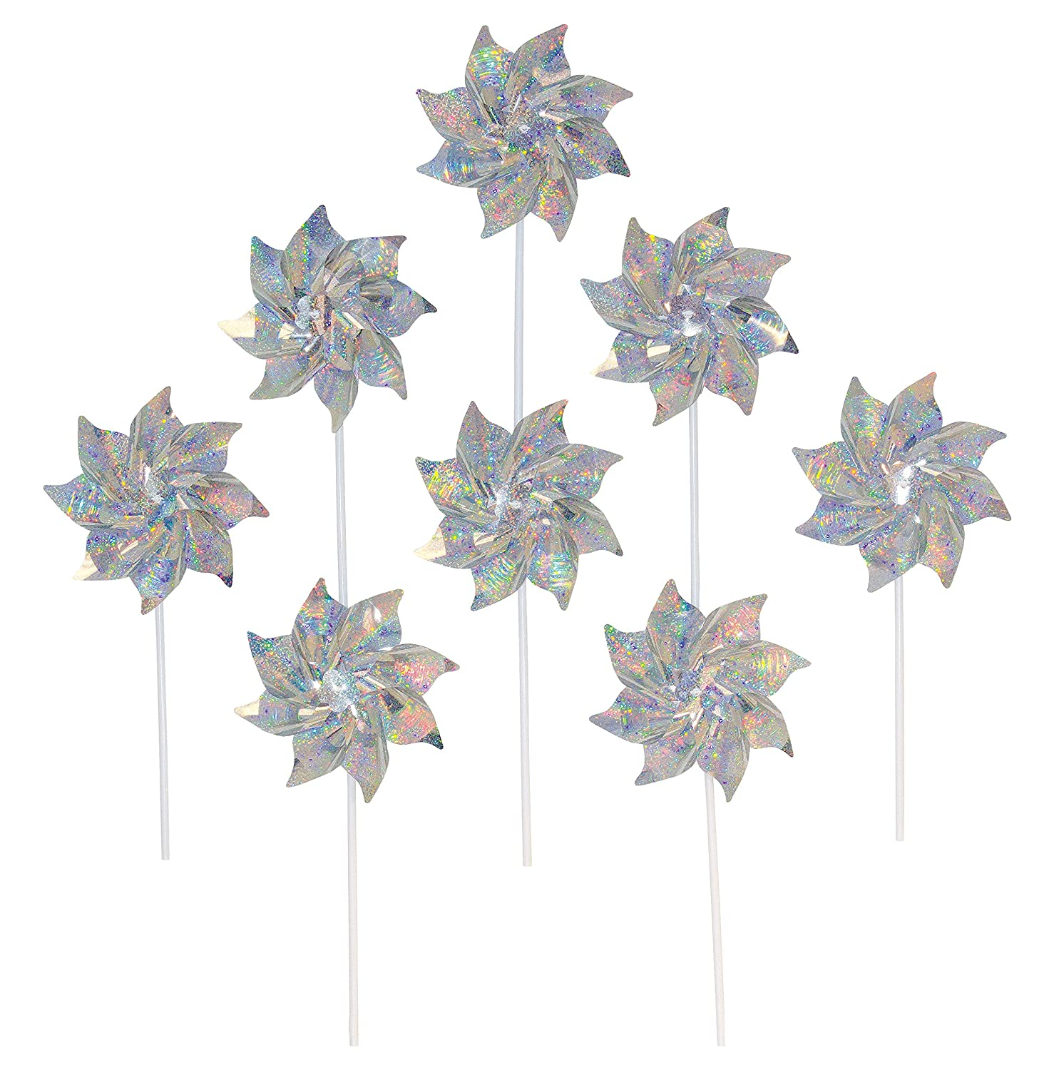 In the Breeze Silver Mylar Pinwheel - Sparkly Silver Spinners - Good Animal & Bird Deterrant - 8 Piece Bags