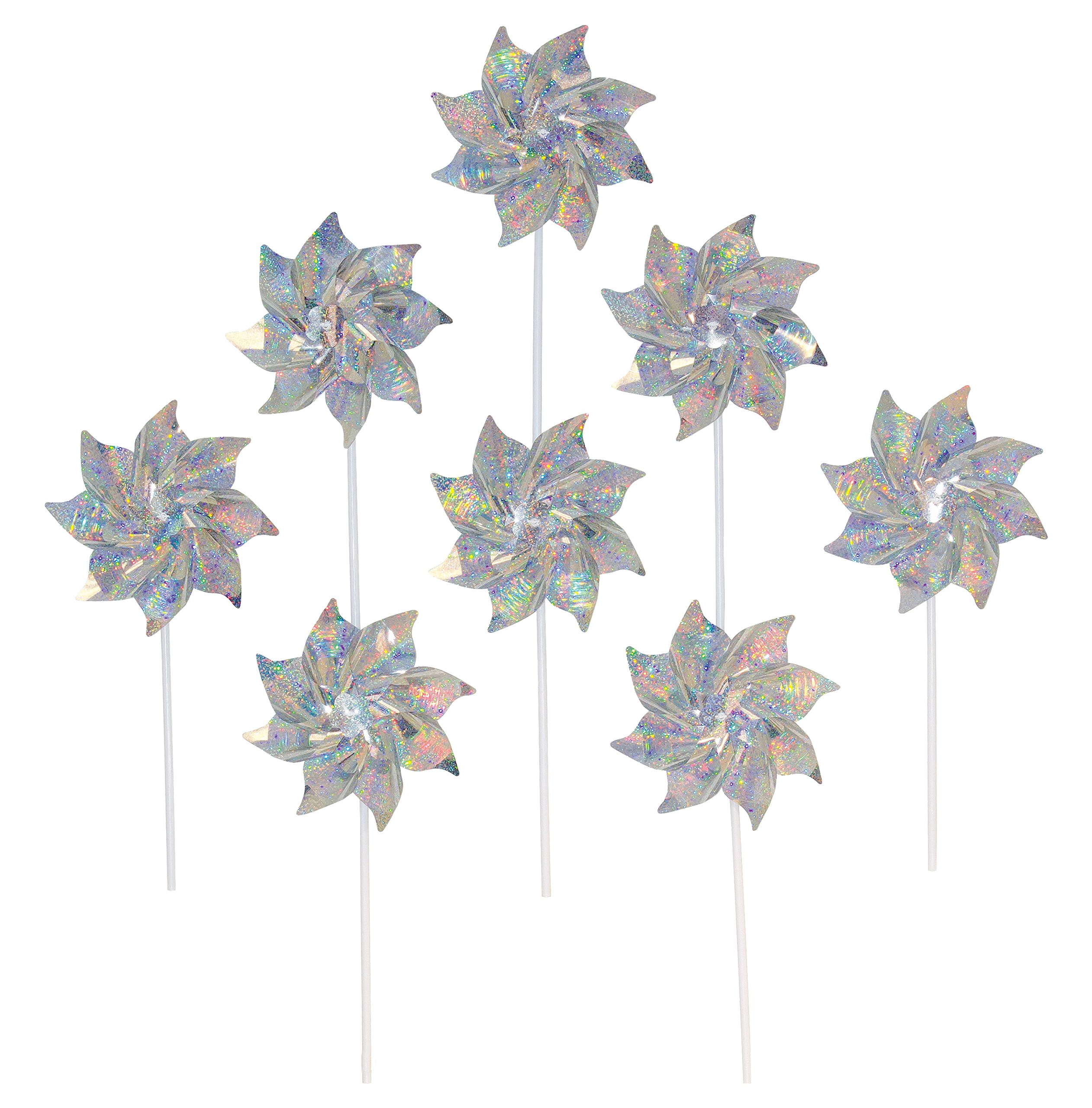 In the Breeze Silver Mylar Pinwheel - Sparkly Silver Spinners - Good Animal & Bird Deterrant - 8 Piece Bags by In the Breeze