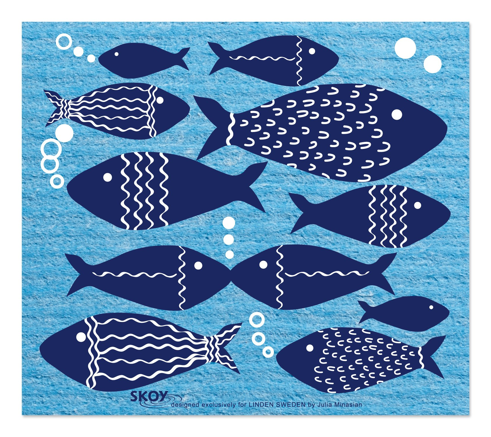 Linden Sweden Swish and Go Fish Cloth, Blue