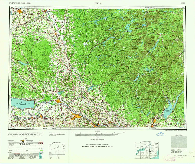 Amazon.com : YellowMaps Utica NY topo map, 1:250000 Scale, 1 X 2 ...