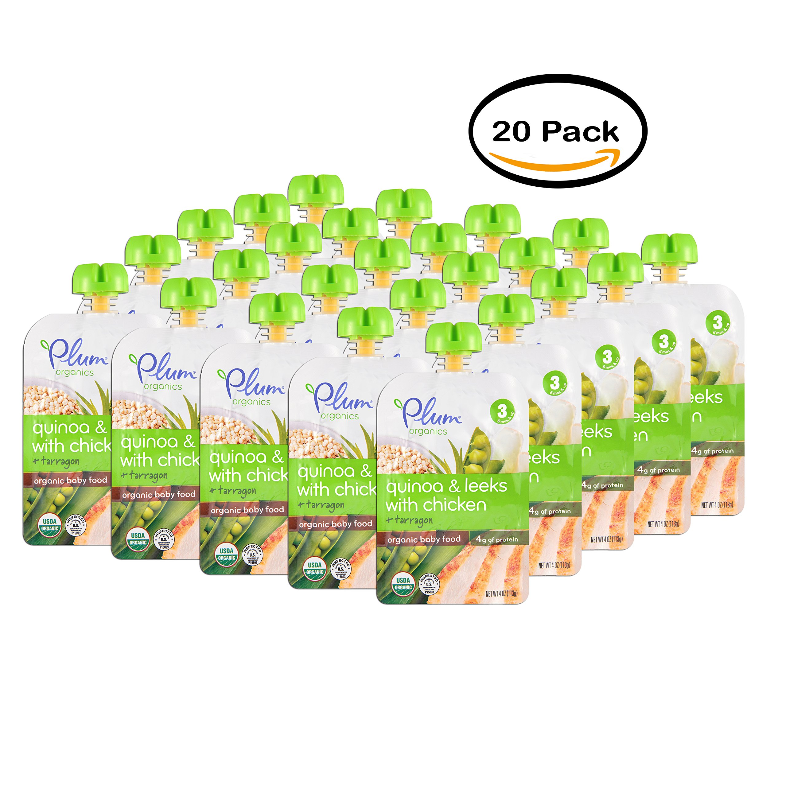 PACK OF 20 - Plum Organics stage 3 Quinoa & Leeks with Chicken + Tarragon Organic Baby Food 4 oz. Pouch