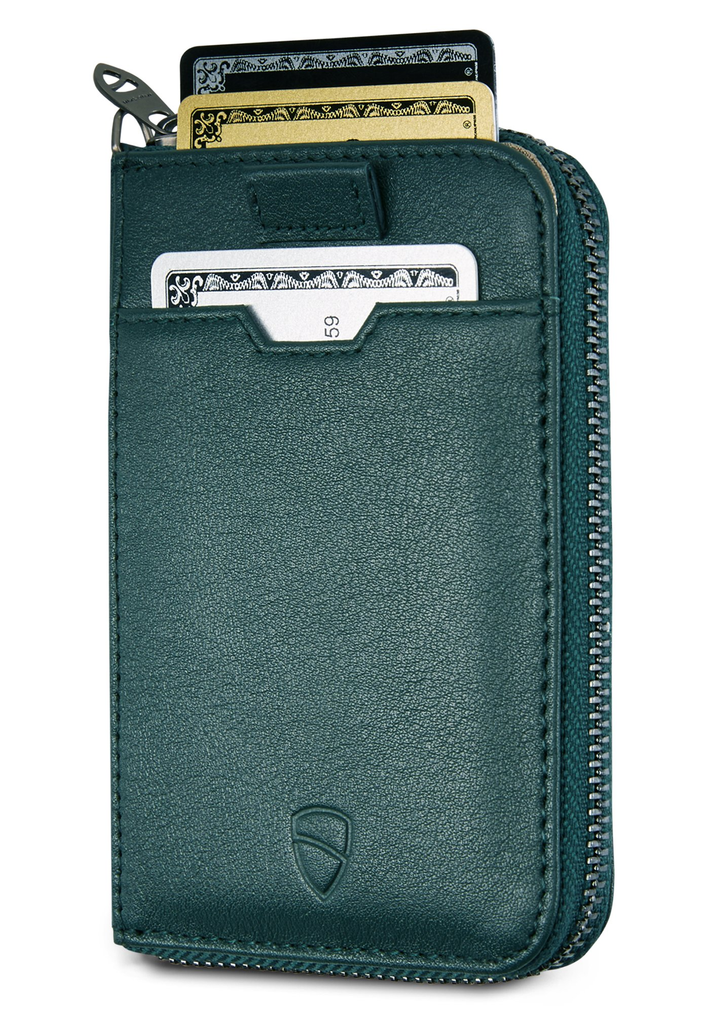 Vaultskin NOTTING HILL Slim Zip Wallet with RFID Protection for Cards Cash Coins (Alpine Green)