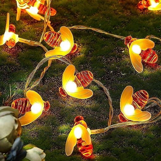 Guirlande d'Abeilles Lumineuses Mini Lampe Solaire Led Guirlande 20 ou 50 Leds