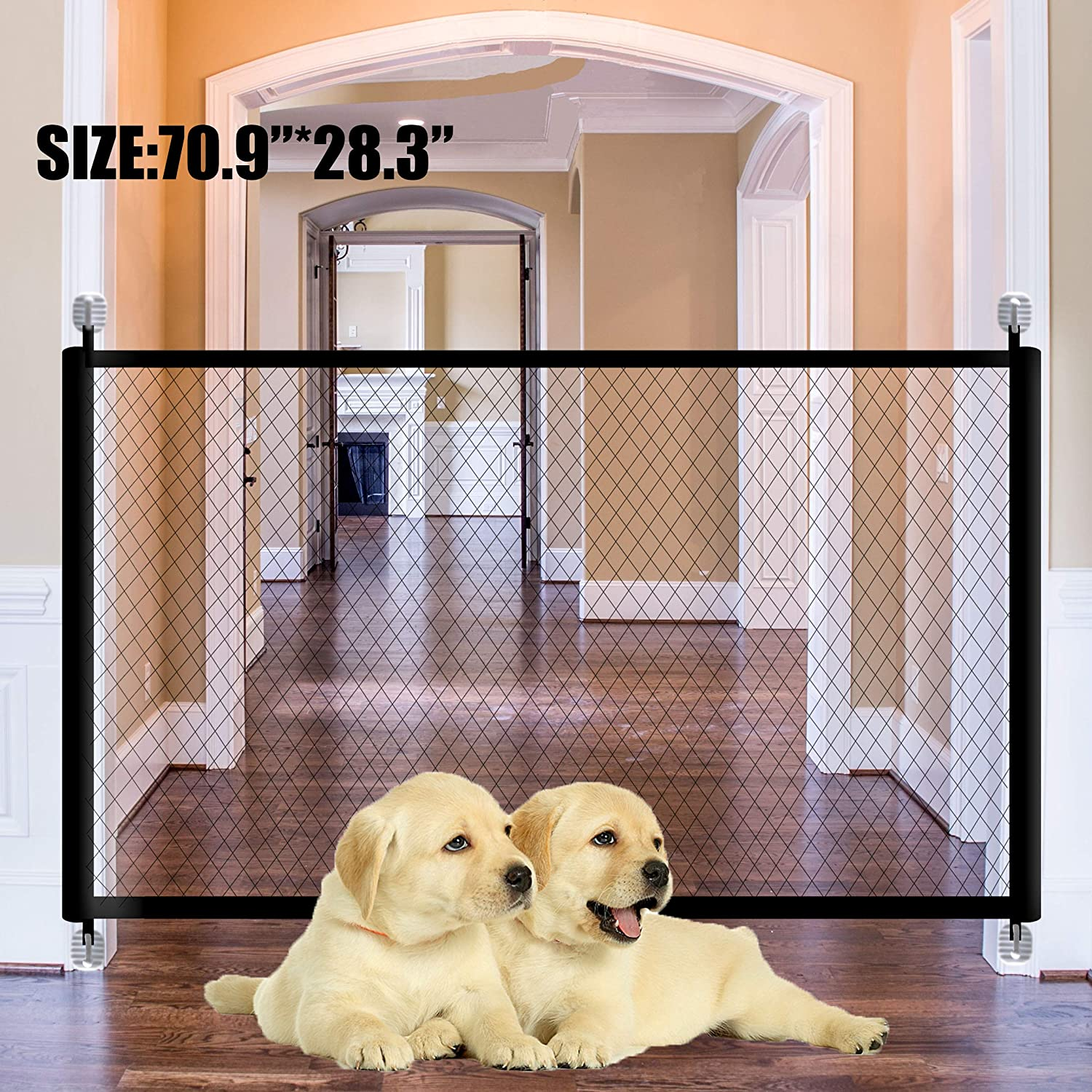 Magic Gate for Dogs Pet Safety Gate Dog Magic Guard Safety Gates Portable Folding Mesh Safety Fence 70.9 x28.3 Inch Isolated Gauze Doorway Indoor and Outdoor Install Anywhere