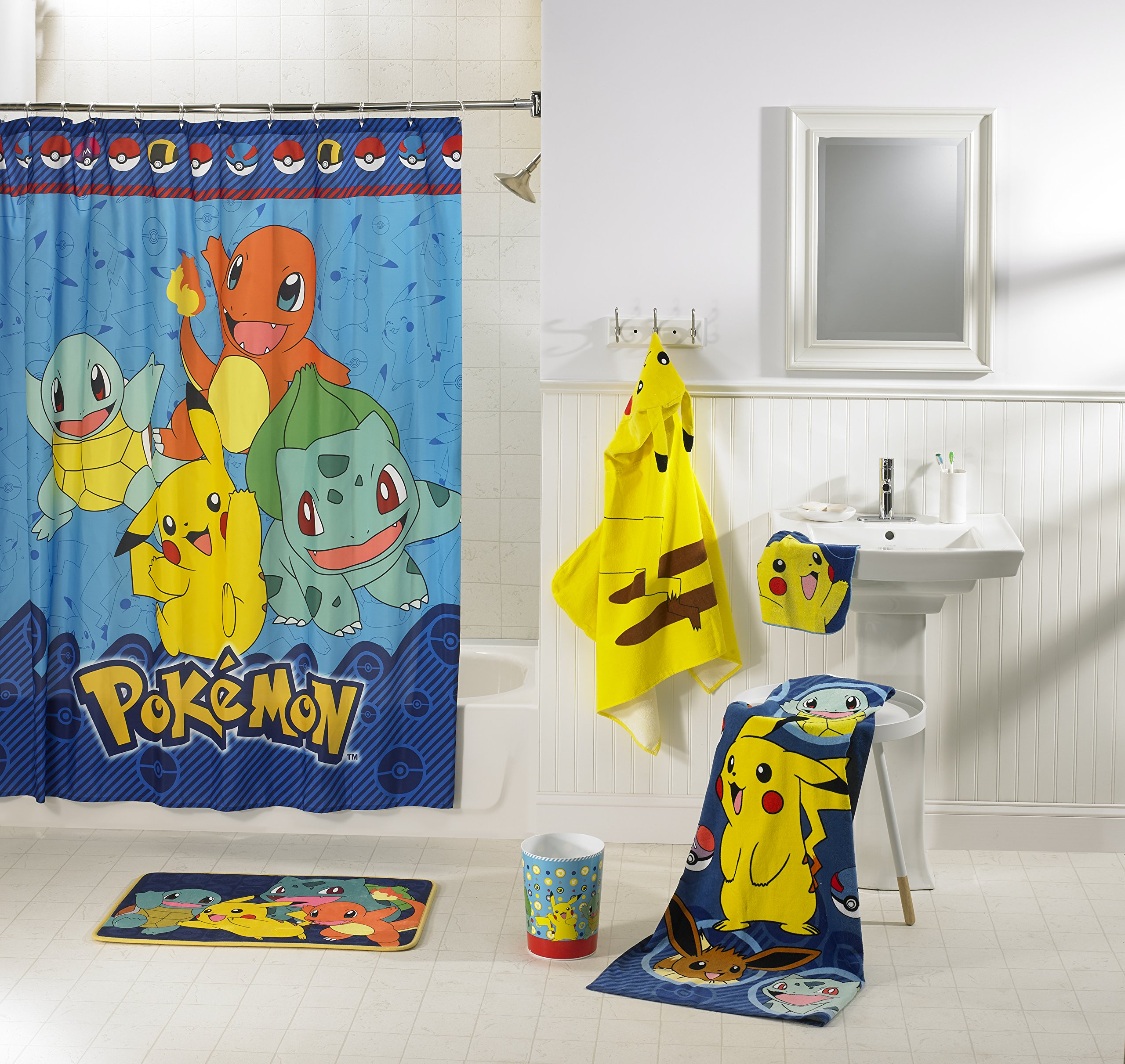 Charming and Lovable Pokemon Kids 5 Piece Bathroom in a Bag Set, Exclusive,Makes Bath Time Fun and Exciting,Makes a Great Gift for Kids and Fans
