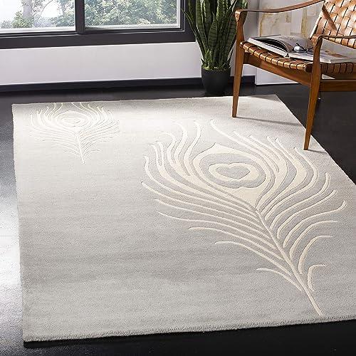 Safavieh Soho Collection SOH704C Handmade Grey and Ivory Premium Wool Area Rug 7 6 x 9 6