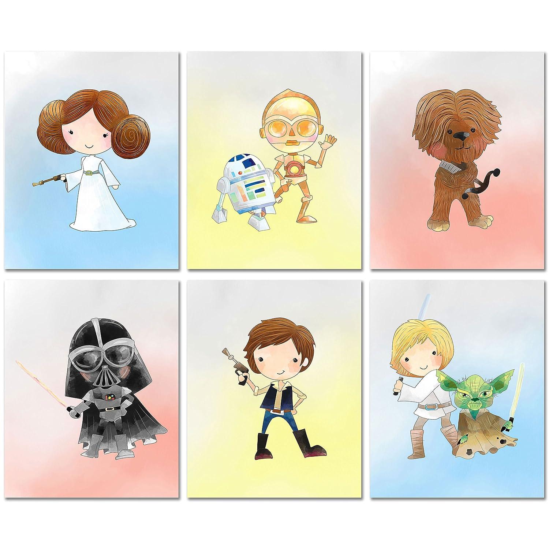 Star Wars Nursery Decor Prints - Set of Six 8x10 Watercolor Original Art Photos - Princess Leia R2D2 CP3O Chewbacca Han Solo Darth Vadar Luke Skywalker Yoda
