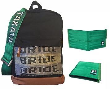 Bride JDM Mochila con correas Takata verdes, incluye cartera de FD gratuita en color verde: Amazon.es: Coche y moto