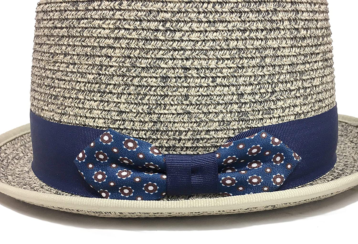 Broner Sophisticate Marled Paper Braid Porkpie Hat with Decorative Bow Band