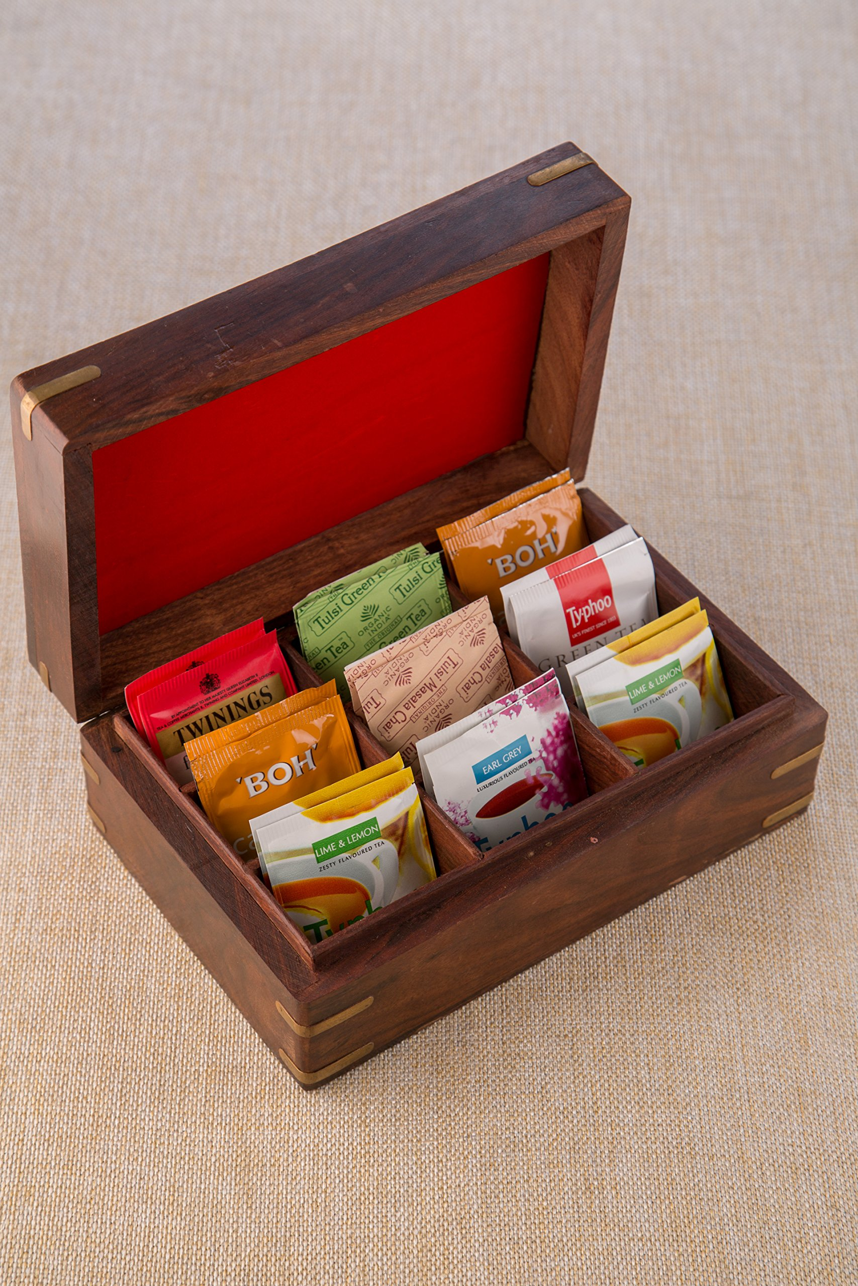 Rusticity Indian Rosewood Antique Treasure Storage Chest Box for Condiment Spice&Jewellery/Vintage Rustic Keepsake Trinket Organizer w/9 Compartments/Handmade Decorative Sheesham Wood Caddy Tea Bag by Rusticity (Image #7)