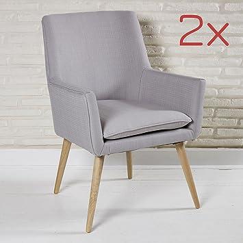 2 Gepolsterte Esszimmerstühle Mit Armlehne In Hellgrau Aus Stoff Mit  Holzfüßen Für Wartezimmer, Wohnzimmer Oder