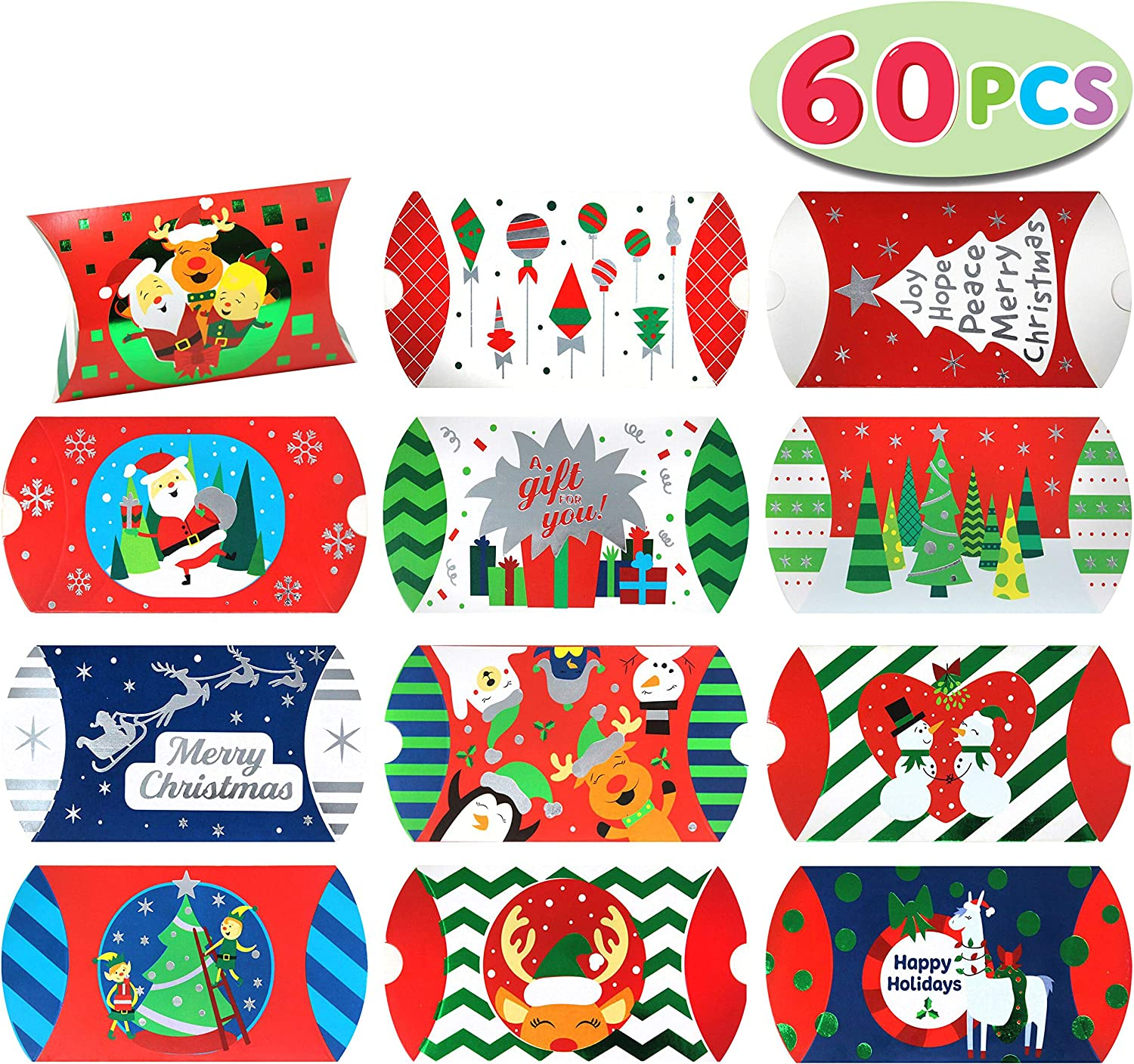 60 PCs Foil Christmas Card Pillow Box with 12 Colorful Designs for Gift Giving, Treat Boxes, Goodie Boxes, Xmas Craft Party Favors
