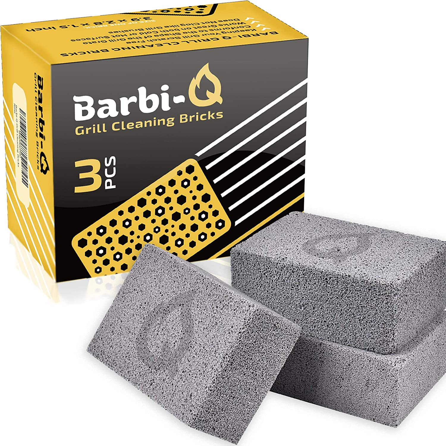 Barbi-Q Grill Cleaning Bricks - Grill Stone | Griddle Cleaner Block - Pumice Stone Brick Cleaner for BBQ | Grills | Racks | Flat Top Grill | Pool | Toilet Cleaner - (Pack of 3)