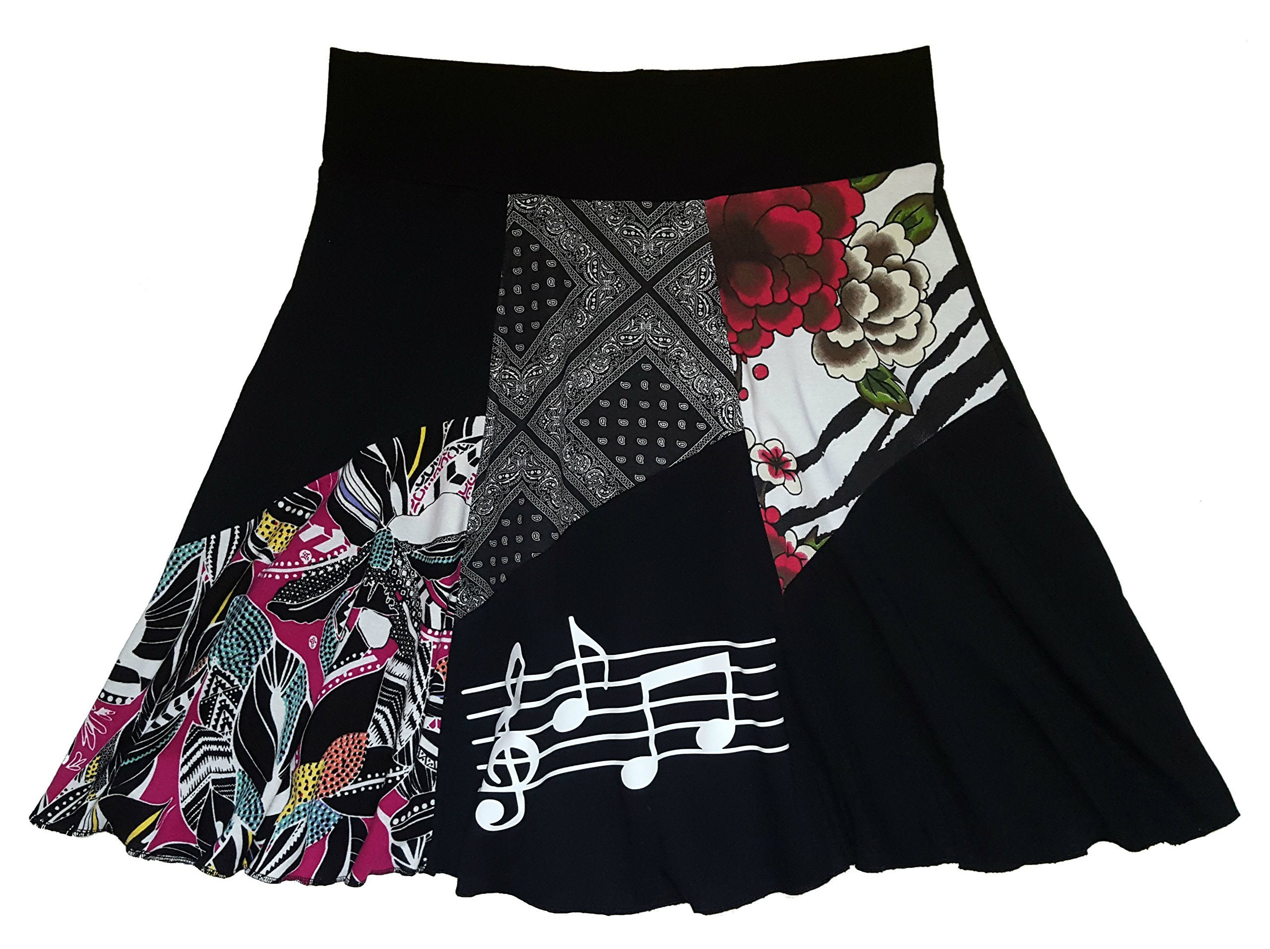 Piano T-Shirt Skirt Women's Size XL 1X Plus Size Musical Notes Upcycled Hippie Skirt