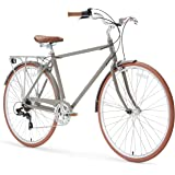 sixthreezero Ride in the Park Men's 7-Speed City Road Bicycle, 20-Inch Frame/700C Wheels, Grey