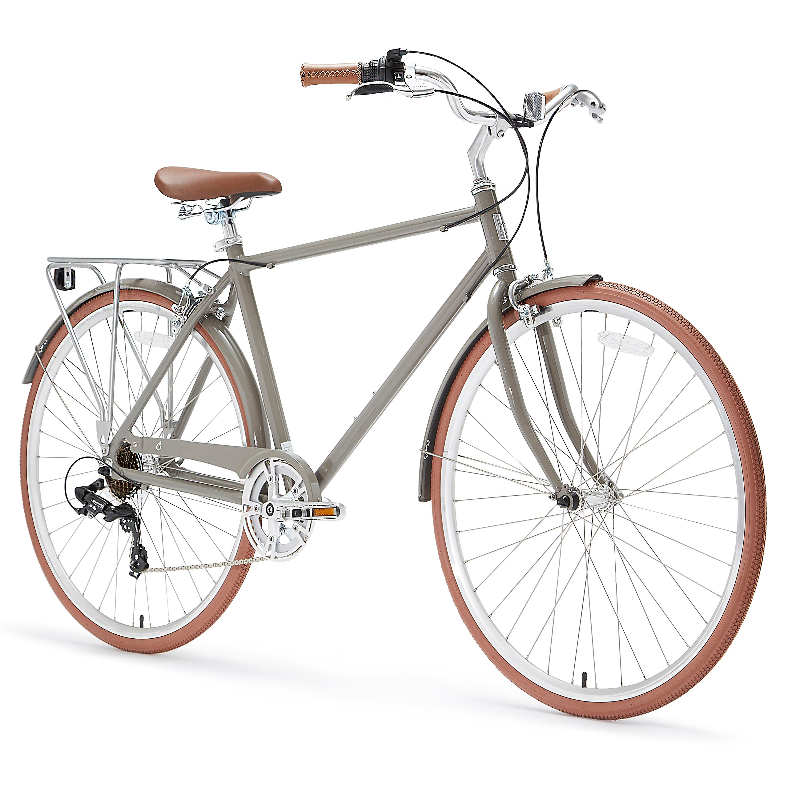 sixthreezero Ride in the Park Men's 7-Speed City Bicycle, 20-Inch Frame/700C Wheels, Grey