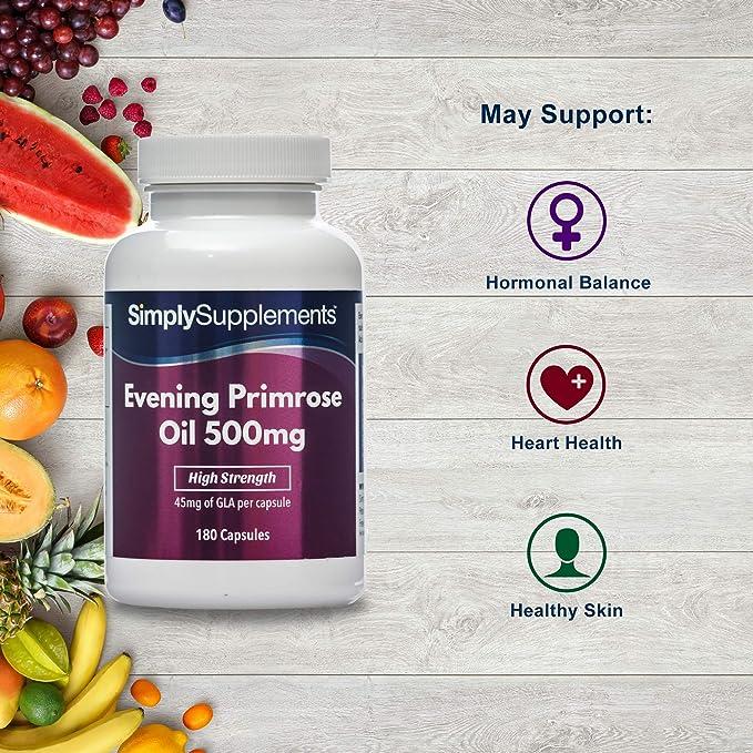 Aceite de onagra 500mg - 180 cápsulas - Hasta 6 meses de suministro - Para la salud del corazón y el equilibrio hormonal - SimplySupplements