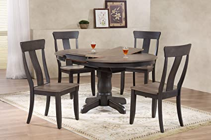 Iconic Furniture 5 Piece Round Panel Back Dining Set, 42u0026quot; X 42u0026quot; X