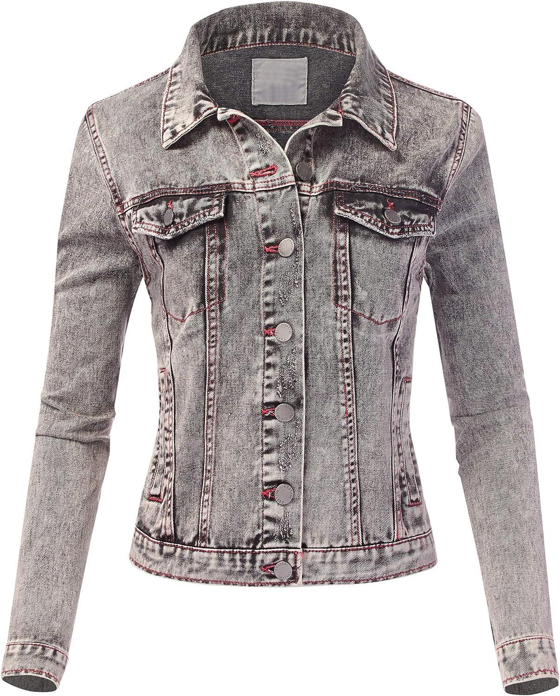 FashionMille Women Casual Classice Long Sleeve Slim-fit Denim Jean Jacket
