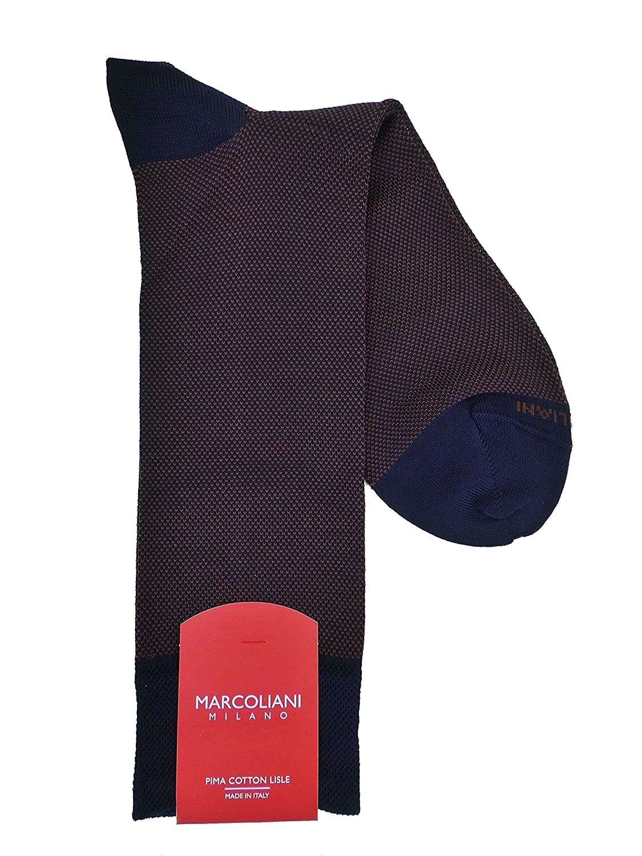 Marcoliani Milano Mens Birdseye Mid Calf Pima Cotton Socks One Size Fits Most Navy