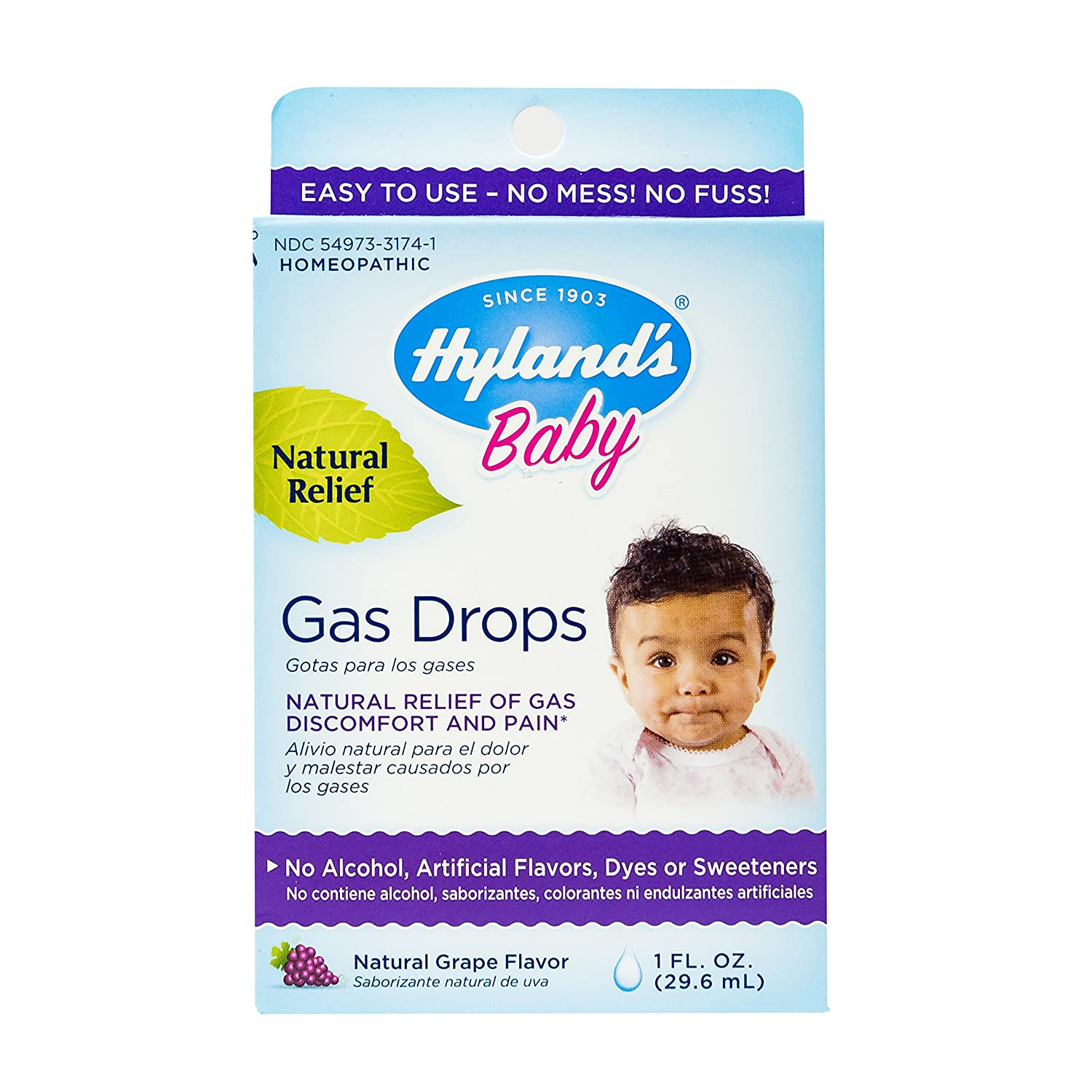 Hyland's Baby Gas Drops, Natural Relief of Gas Discomfort and Pain, Natural Grape Flavor, 1 Ounce
