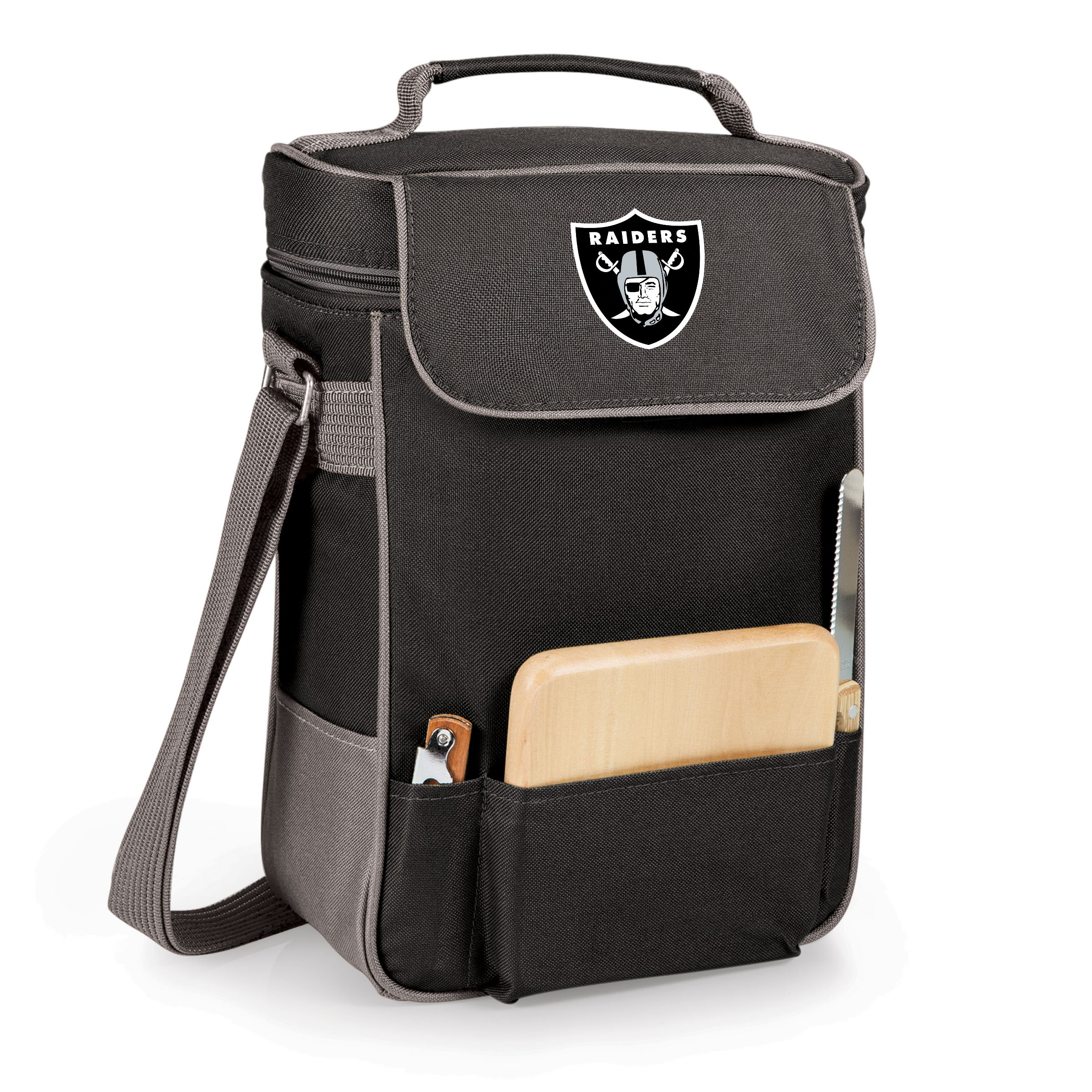 NFL Oakland Raiders Duet Insulated 2-Bottle Wine and Cheese Tote by PICNIC TIME (Image #1)