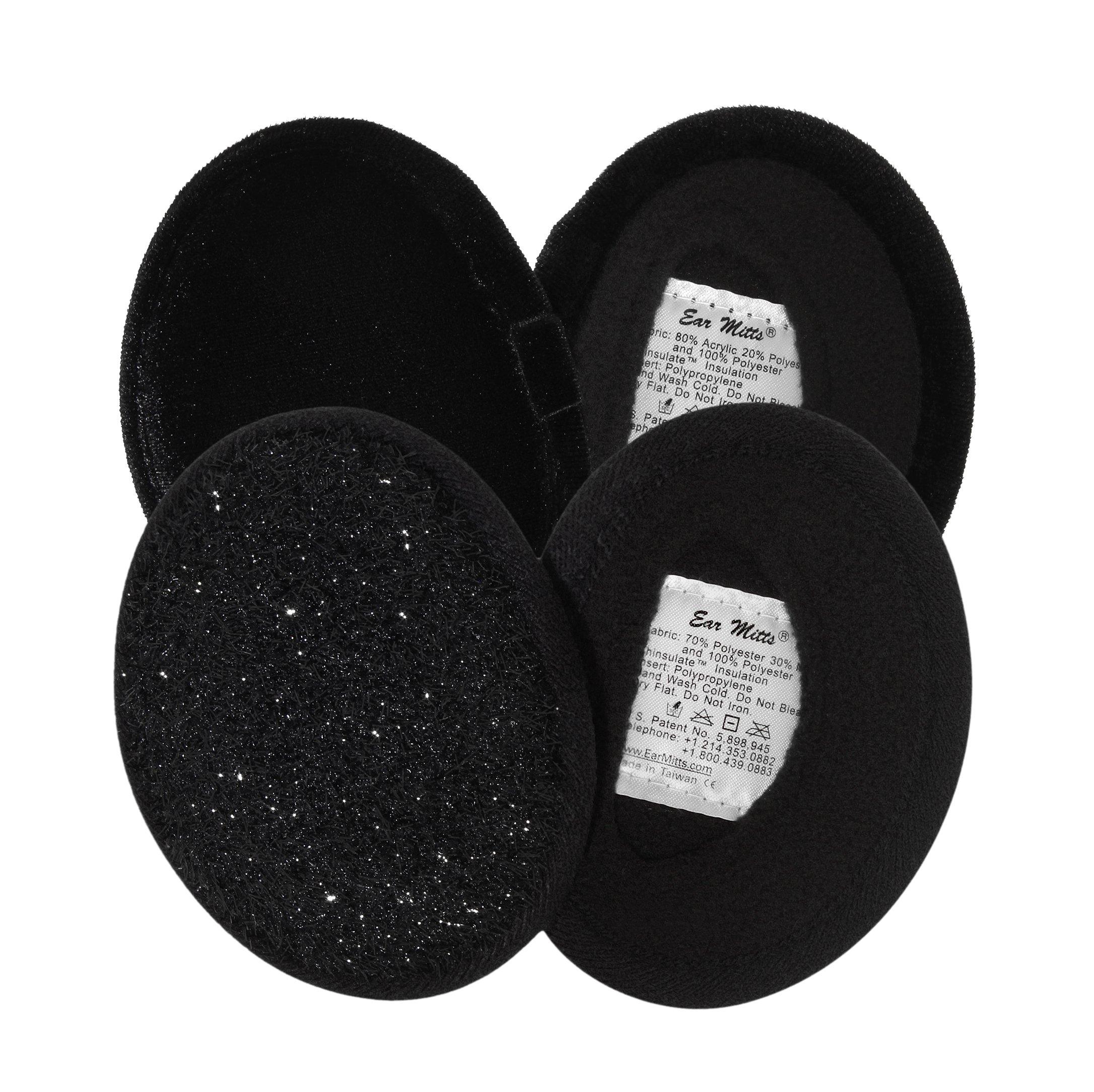 2 Pack Ear Mitts Bandless Ear Muffs For Women, Black Velvet & Sparkle, Regular