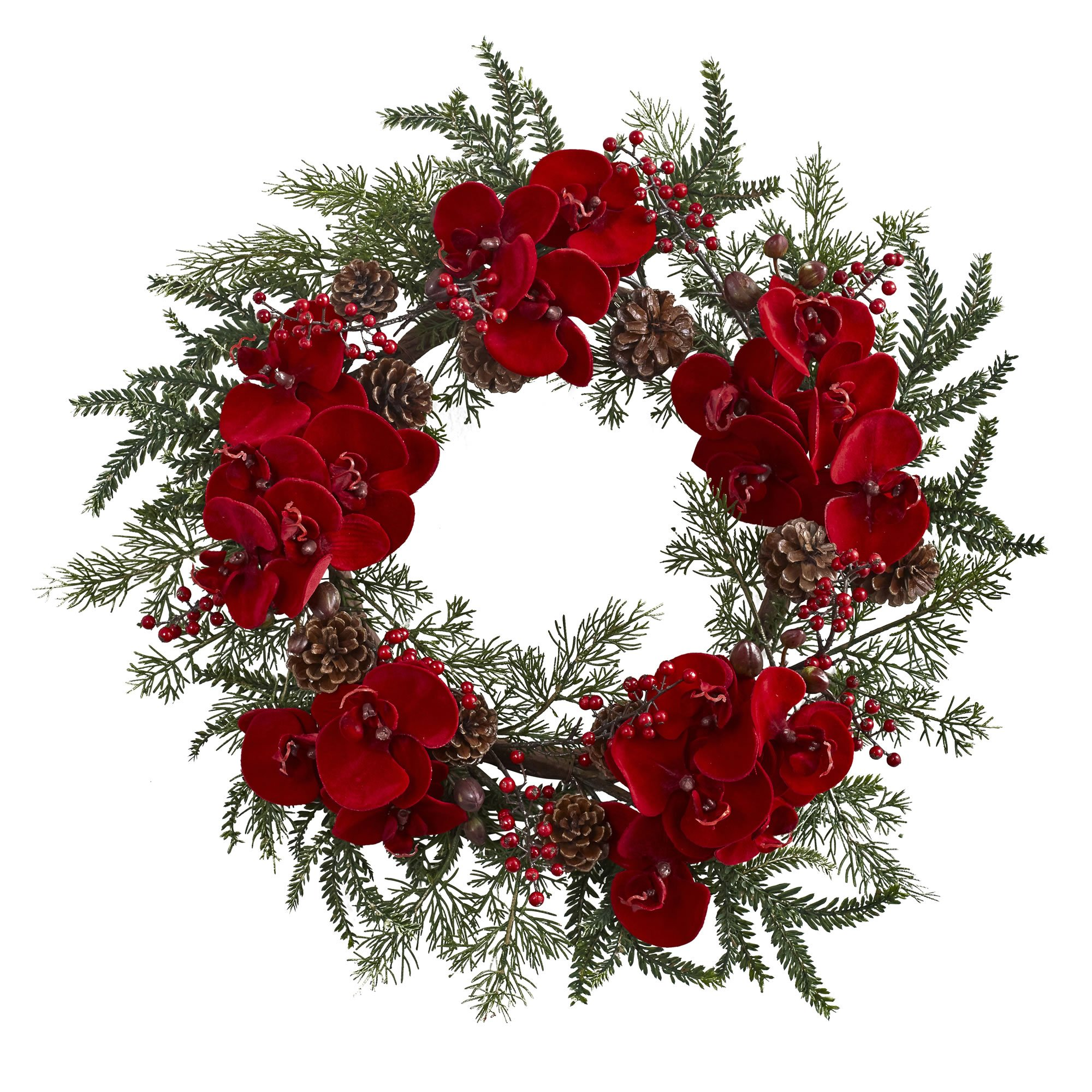 Nearly Natural Orchid, Berry & Pine Holiday Wreath, 22''
