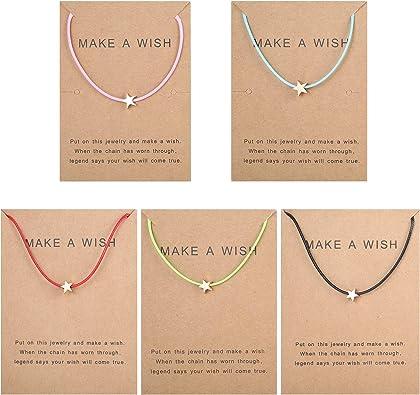 Thunaraz 5Pcs Friendship Bracelet Set with Message Card Make a Wish Adjustable Bracelet Star Heart Handmade Bracelet Simple Fashion Women Jewelry ...