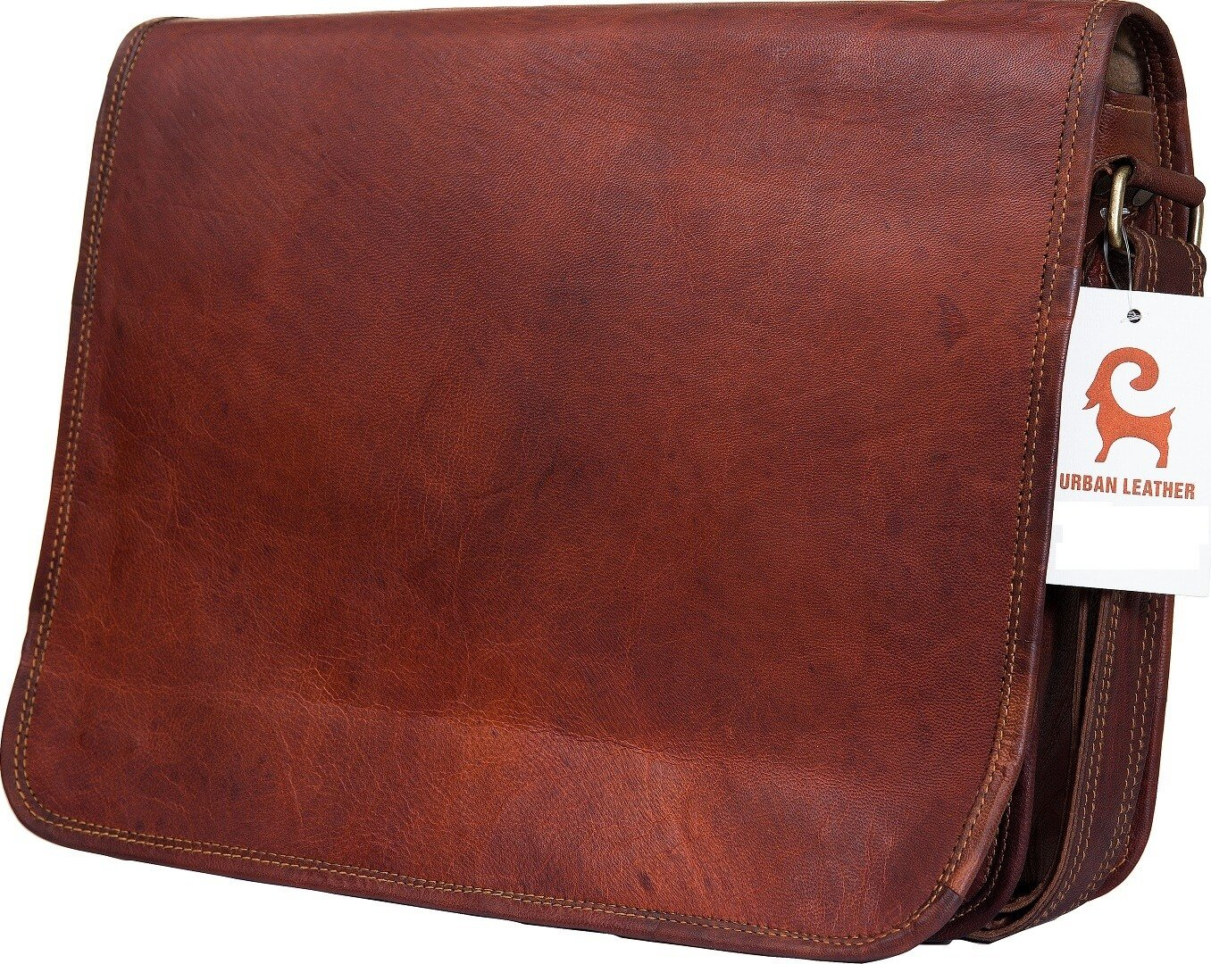 Urban Leather Handmade Over The Shoulder Laptop Bag for Men Women Boys Girls, With Shock Proof Macbook Padding, Size 15 inch