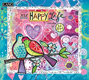 "LANG - 2018 Wall Calendar -""Happy Life"", Artwork by Lori Siebert - 12 Month - Open 13 3/8"" X 24"""
