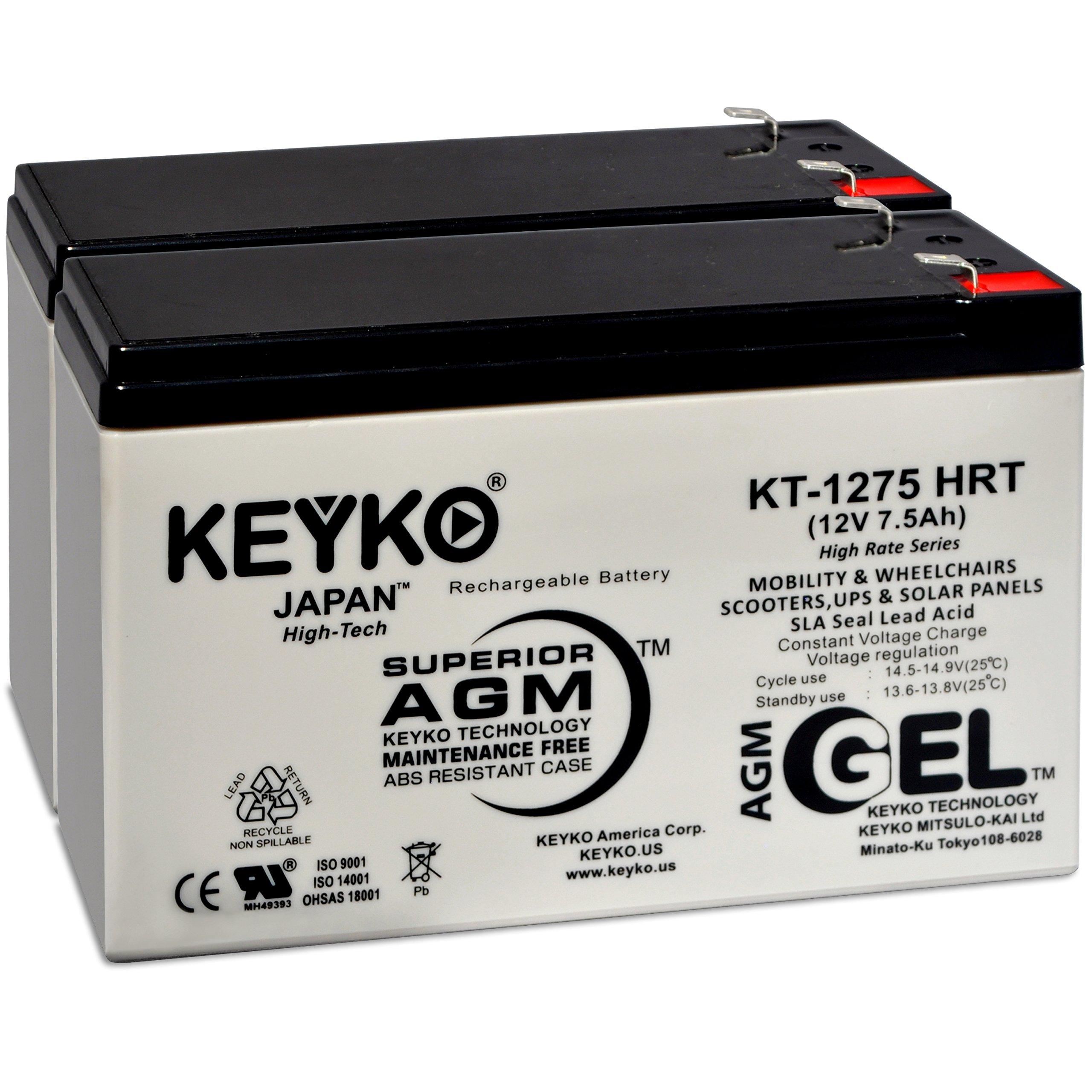 Razor 6-DW-7 12V 7.5 Ah Battery - Fresh & Real 8 Amp - Gel Deep Cycle AGM/SLA Seal Lead Acid Designed for Scooter - Genuine KEYKO - F2 Terminal W/F1 Adapter - 2 Pack