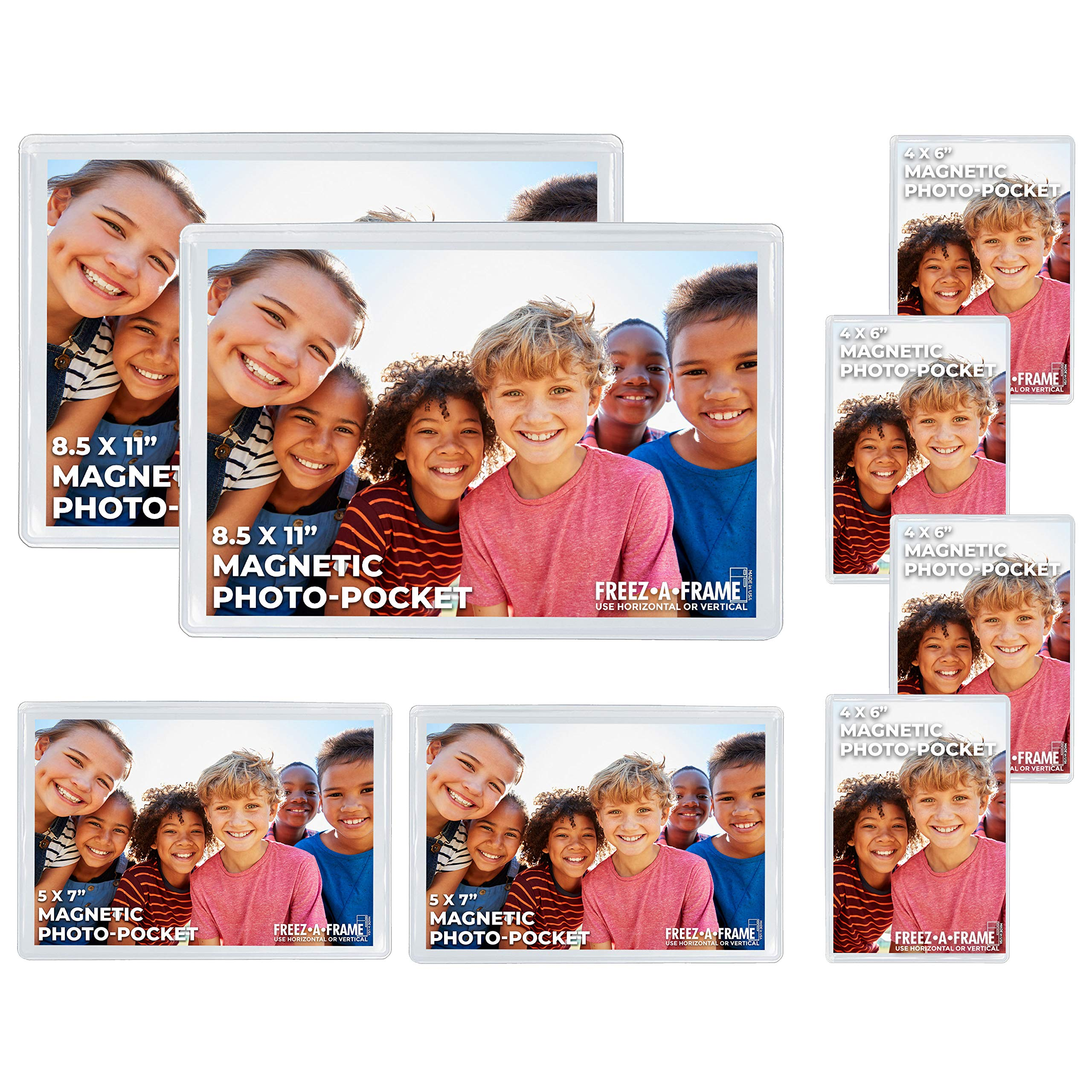 Freez A Frame Clear Magnetic Picture Frames For Refrigerator School Locker, or any Magnetic Surface 8 Pack (2) 8.5 x 11 (2) 5 x 7 (4) 4 x 6 Photo Pockets by Freez A Frame