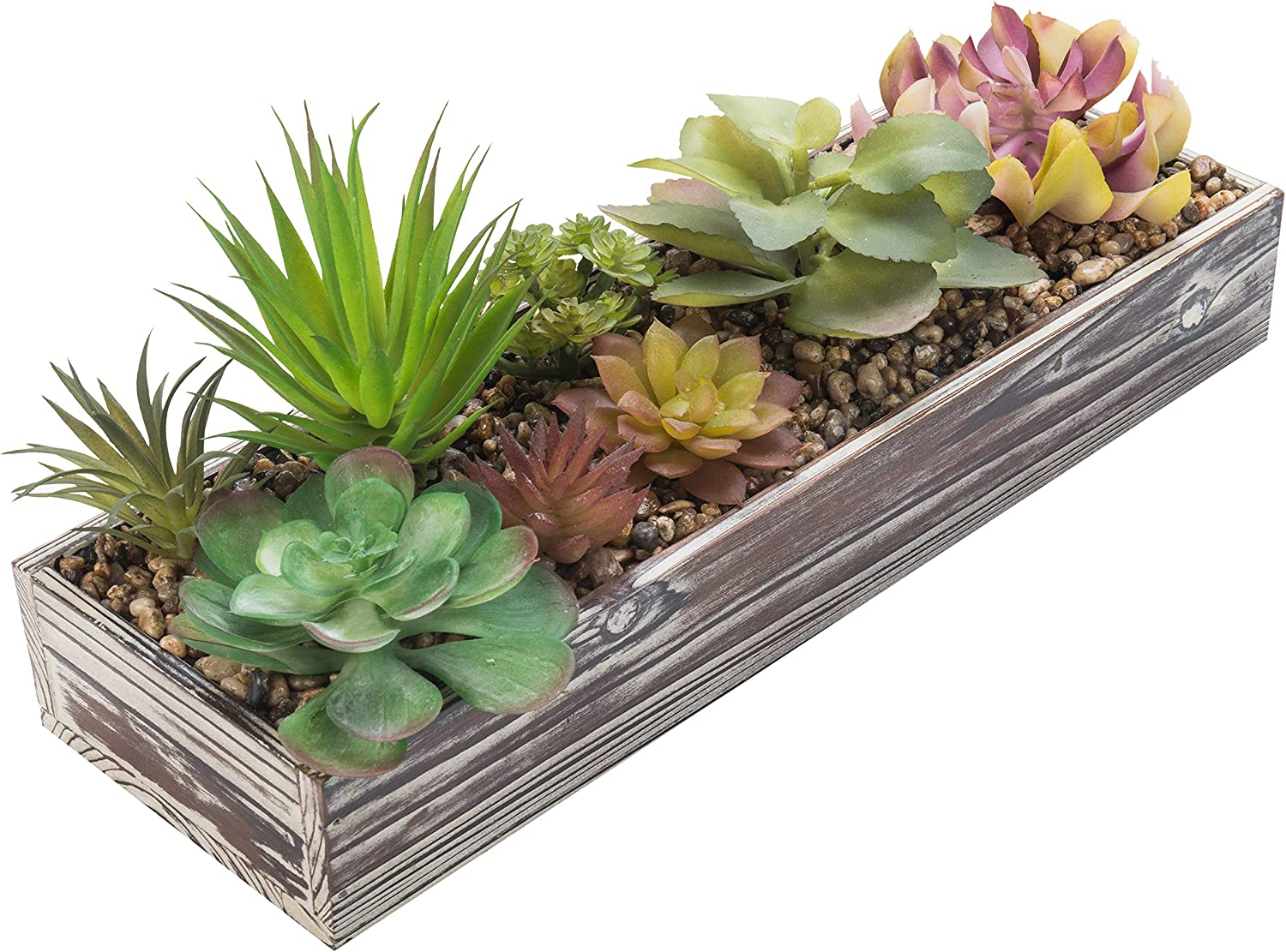 MyGift Assorted Artificial Plant Arrangement in Torched Wood Planter Pot