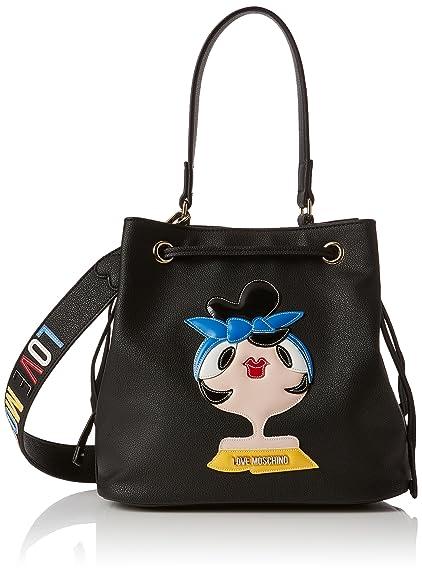 Borsa Small Grain Pvc Nero, Womens Shoulder Bag, Black, 16x26x30 cm (B x H T) Love Moschino
