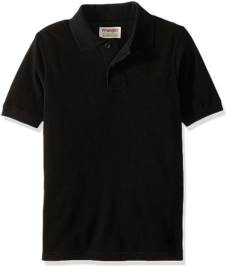 e200a523 Wrangler Little Boys' Authentics Short Sleeve Polo Shirt, Black, X-Small