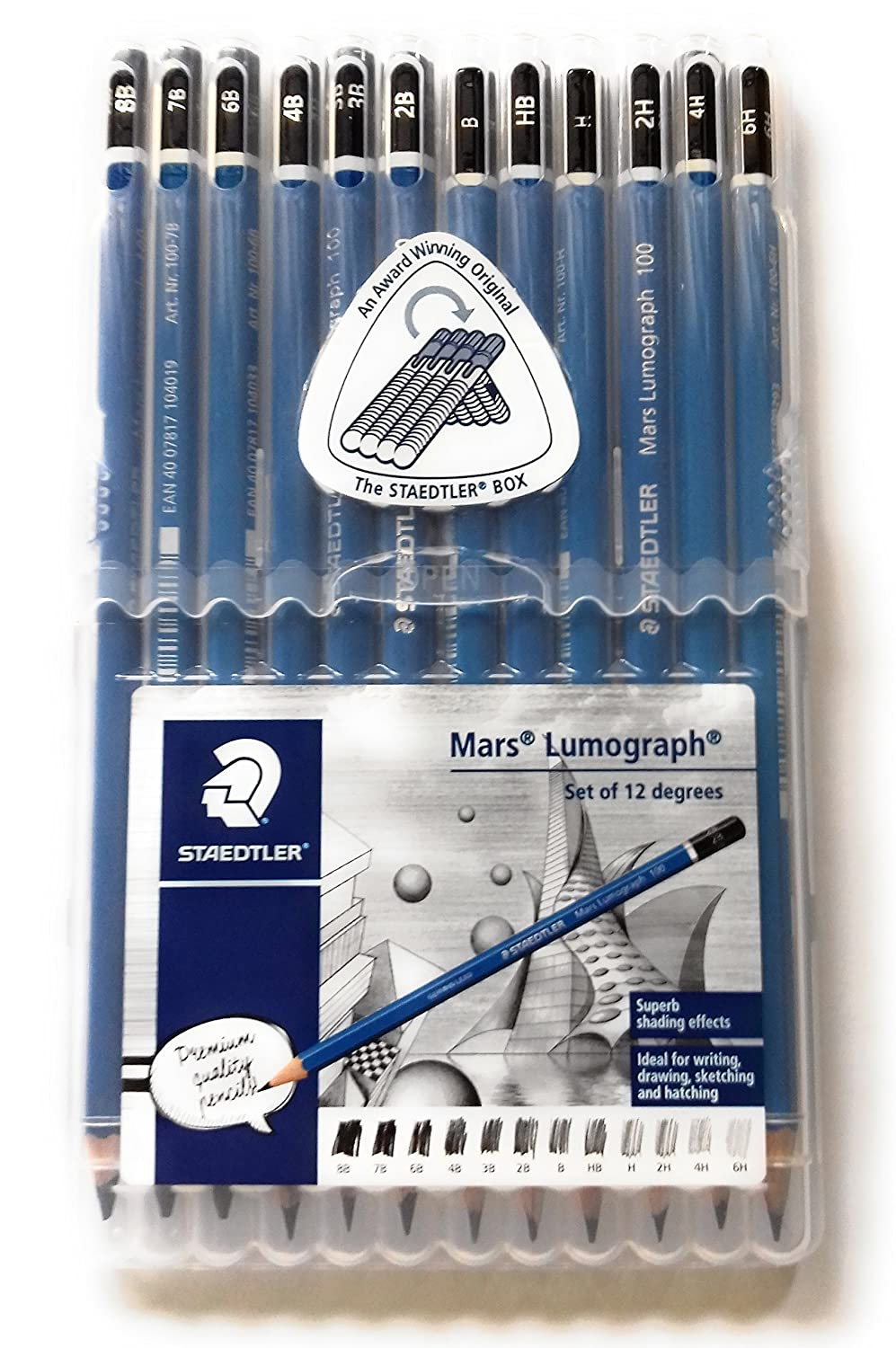 Wooden Lead Pencil By Staedtler Mars Lumograph - Pack of 12 Degrees in Practical Plastic Storage Box Staedtler/Germany