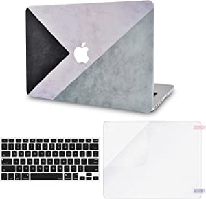 LuvCase 3 in 1 Laptop Case for MacBook Air 13 Inch (Touch ID)(2020) A2179 Retina Display Hard Shell Cover, Keyboard Cover & Screen Protector (Black White Grey)