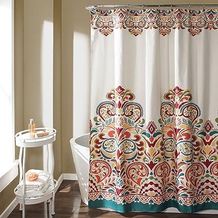 Lush Decor 16T000086 Clara Shower Curtain 72quot X Turquoise Tangerine