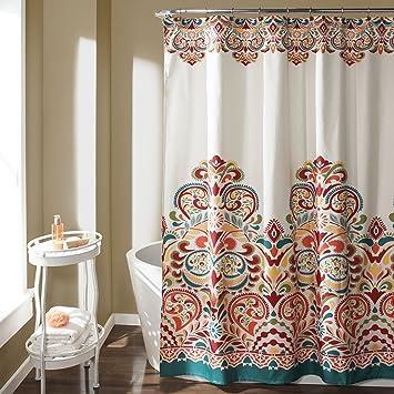 Lush Decor 16T000086 Clara Shower Curtain, 72u0026quot; X 72u0026quot;,  Turquoise/Tangerine